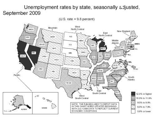 US Unemployment Map Sept 2009